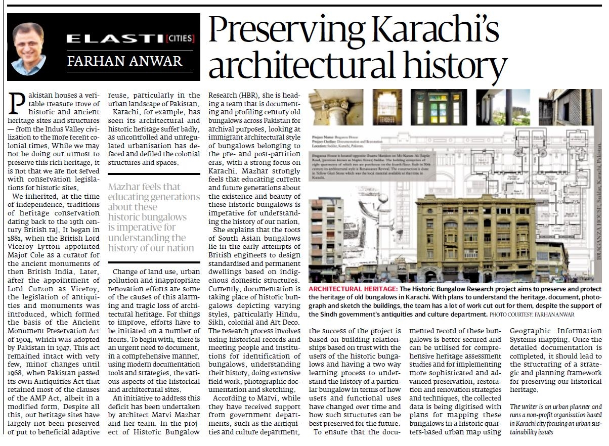 Preserving Karachi's Architectural Heritage by Farhan Anwar. Published in Express Tribune on 31st August, 2015.