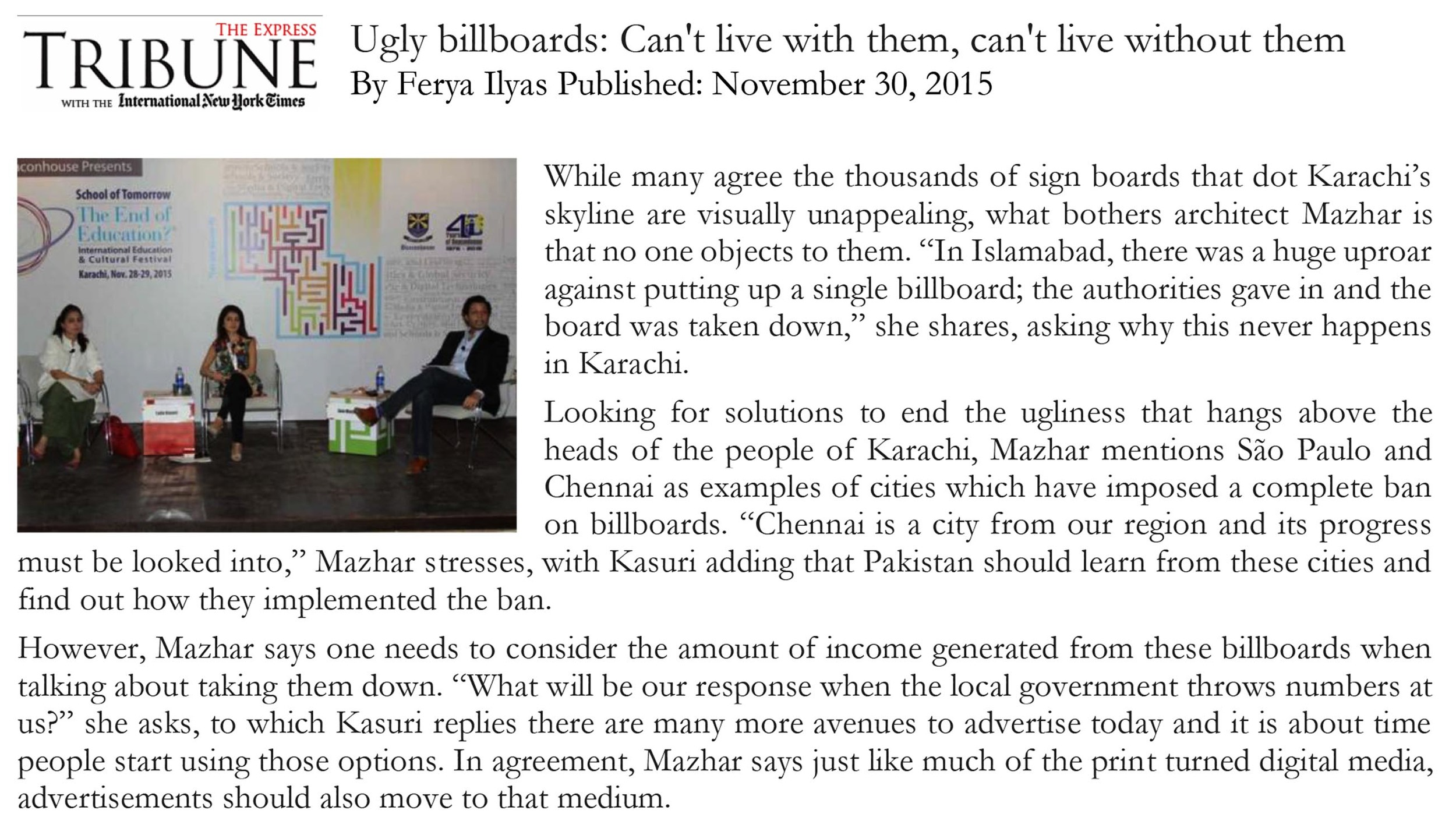 Ugly Billboards: Can't live with them, can't live without them by Ferya Ilyas. Published in Express Tribune on November, 30th 2015