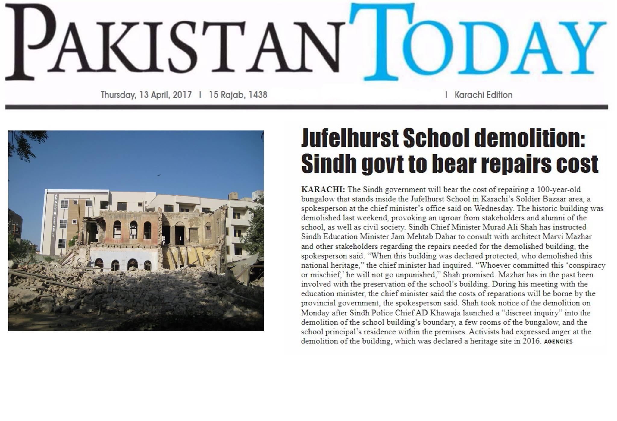 Jufelhurst High School  Rebuilding Plan Order from Sindh Government