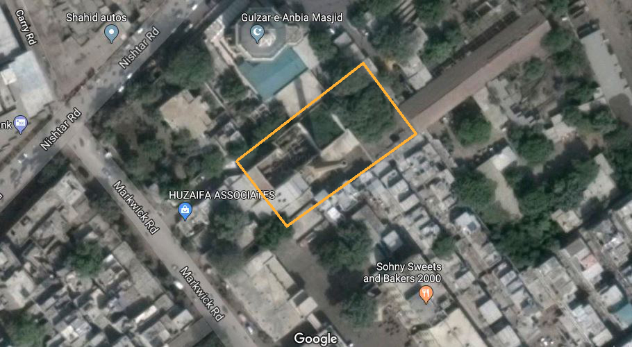 Site map for the compound: chimney seen from Nishtar road, Ranchore line quarters.