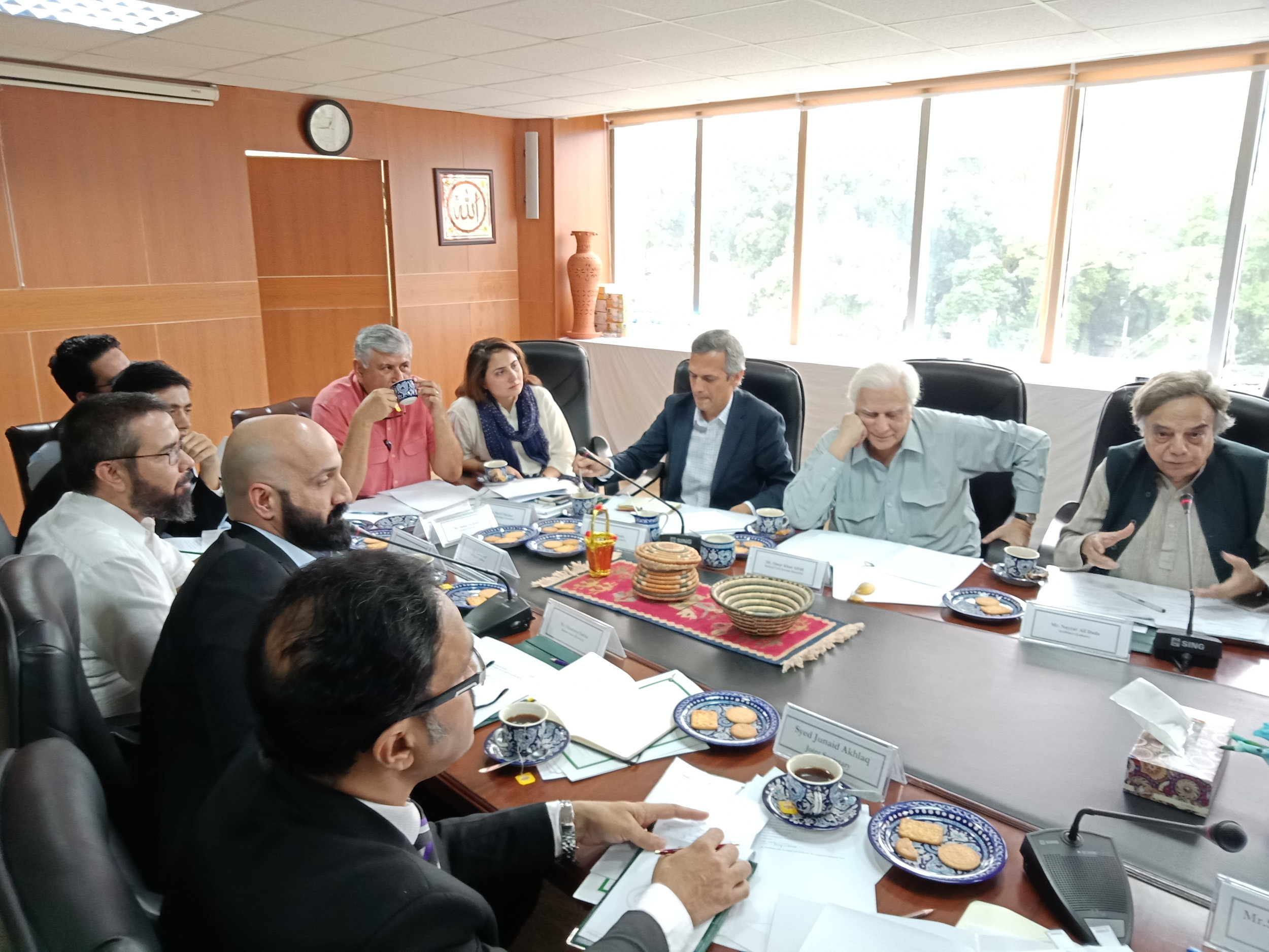 Minister for Federal Education and Professional Training, and National History & Literary Heritage Division, Shafqat Mahmood chairing first meeting of committee to suggest best possible utilization of Heritage Buildings at Committee room of National History and Literary Heritage Division in Islamabad on August 27, 2018. The Committee members include: Mr. Shafqat Mahmood, Mr. Nayyar Ali Dada, Mr. Rashid Rana, Mr. Shamoon Sultan, Mr. Omar Hasan, Dr. Faisal Khan, Mr. Omar Khan Afridi, Mr. Naeem Safi, Mr. Akram Dost Baloch, Miss Muneeza Hashmi, Miss Adeela Suleman, Mr. Samar Ali Khan, Miss Marvi Mazhar, Miss Asma Rashid Khan & Engr, Aamir Hasan.  https://www.app.com.pk/shafqat-mehmood-forms-committees-to-submit-detailed-report-on-important-buildings-within-two-weeks/   https://www.thenews.com.pk/print/360313-shafqat-forms-committees-to-submit-report-on-important-buildings