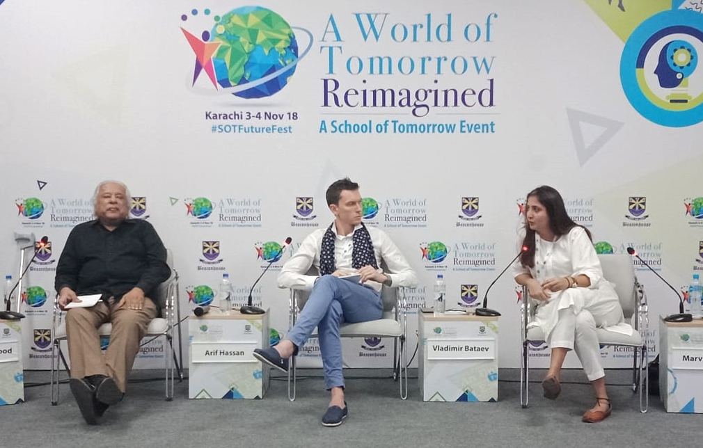 Panel Discussion on Building the Future: Architectural Heritage at A World of Tomorrow  Re-imagined Conference. Panelist: Mr. Arif Hassan (Left), Mr. Vladmir Bataev (Center) and Ms Marvi Mazhar (Right).  https://www.pakistantoday.com.pk/2018/11/03/improving-educational-system-top-most-priority-president/