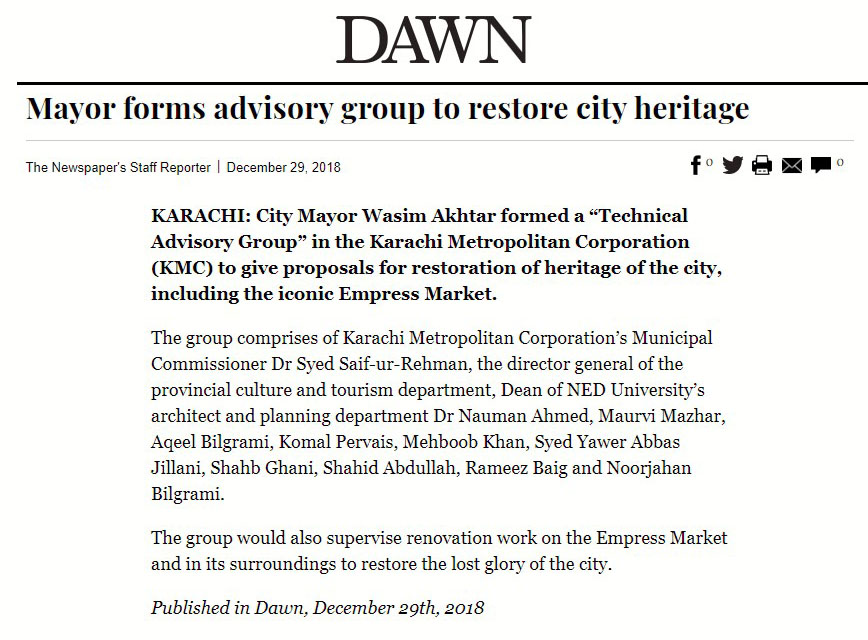 """Marvi Mazhar made part of """"Technical Advisory Group"""" by City Mayor Wasim Akhtar in the Karachi Metropolitan Corporation (KMC) to give proposals for restoration of heritage of the city, including the iconic Empress Market."""