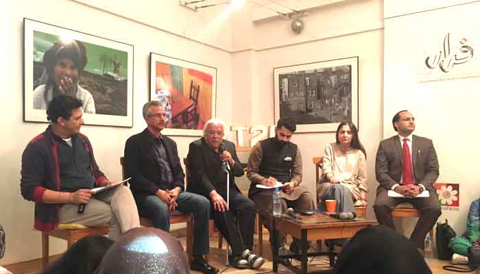 Panel Discussion on Anti-Encroachment Drive and Loss of Heritage Spaces at The Second Floor - T2F Panelist: Mayor Wasim Akhtar, Mr. Arif Hassan, Mr. Jibran Nasir, Ms Marvi Mazhar and Mr. Syed Muhammad Ali Shah. Moderator: Arieb Azhar,  https://www.thenews.com.pk/print/422670-speakers-lament-loss-of-livelihoods-due-to-drive-against-encroachments   https://www.thenews.com.pk/print/403505-karachi-s-anti-encroachment-drive-is-ill-conceived-experts   https://www.dawn.com/news/1446485