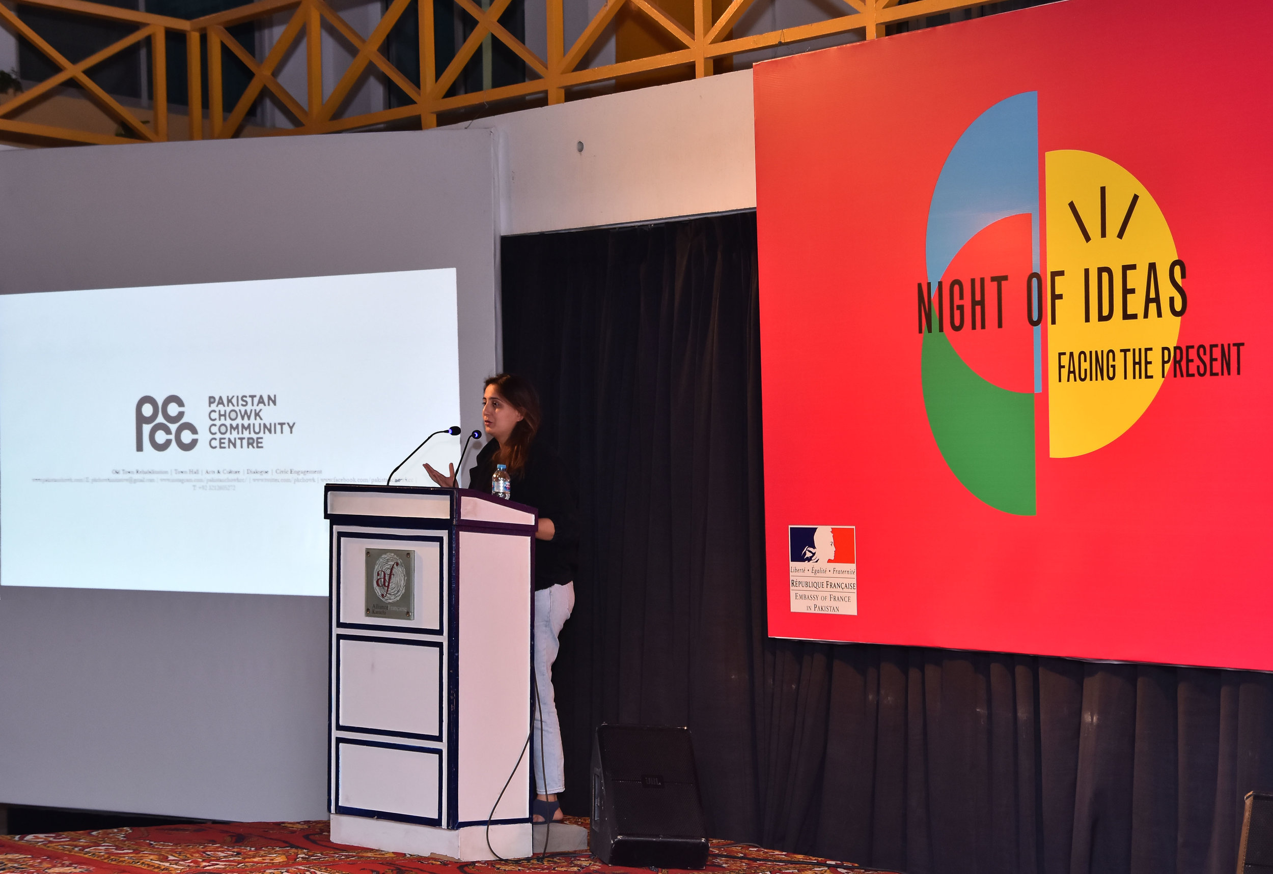Facing the Present: Intellectuals vs Artists Session at the Night of Ideas hosted by Alliance Francaise  Speakers: Marvi Mazhar, Arieb Azhar, Niilofer Farrukh, Saima Zaidi, Sabiha Sumar and Mohammad Zeeshan  https://images.dawn.com/news/1181818/this-talk-in-karachi-pit-artists-against-intellectuals-but-is-that-really-useful