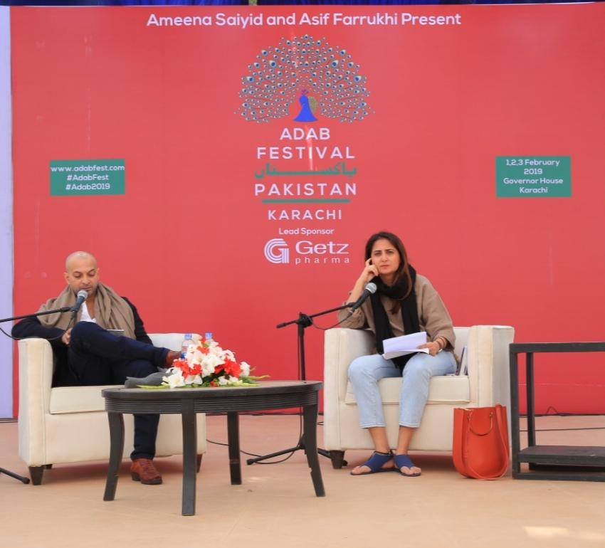 """Architect Marvi Mazhar in conversation with H. M. Naqvi at the launch of his new book """"The Selected Works of Abdullah the Cossack"""" at Adab Festival.  https://images.dawn.com/news/1181793/adab-fest-3-concludes-with-sessions-on-history-womens-rights-and-cricket"""