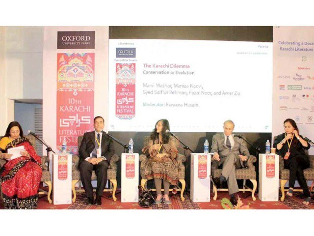 Dr. Syed Saifur Rehman, Marvi Mazhar , Amer Zia and Maniza Naqvi point out the flaws in urban planning which have contributed to Karachi's woes in a session moderated by Rumana Husain on Saturday, the second day of the 10th Karachi Literature Festival .   https://www.dawn.com/news/1467248/no-romance-left-in-karachi   https://tribune.com.pk/story/1921835/1-administrative-overlaps-poor-planning-ail-karachi/   http://tns.thenews.com.pk/festival-literature/