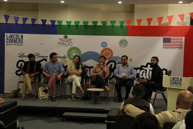 Panelist Marvi Mazhar, Nooruddin Merchant, Arieb Azhar, Sabrina Dawood, and Muzammil Afzal discussing the need of safe spaces for youth.