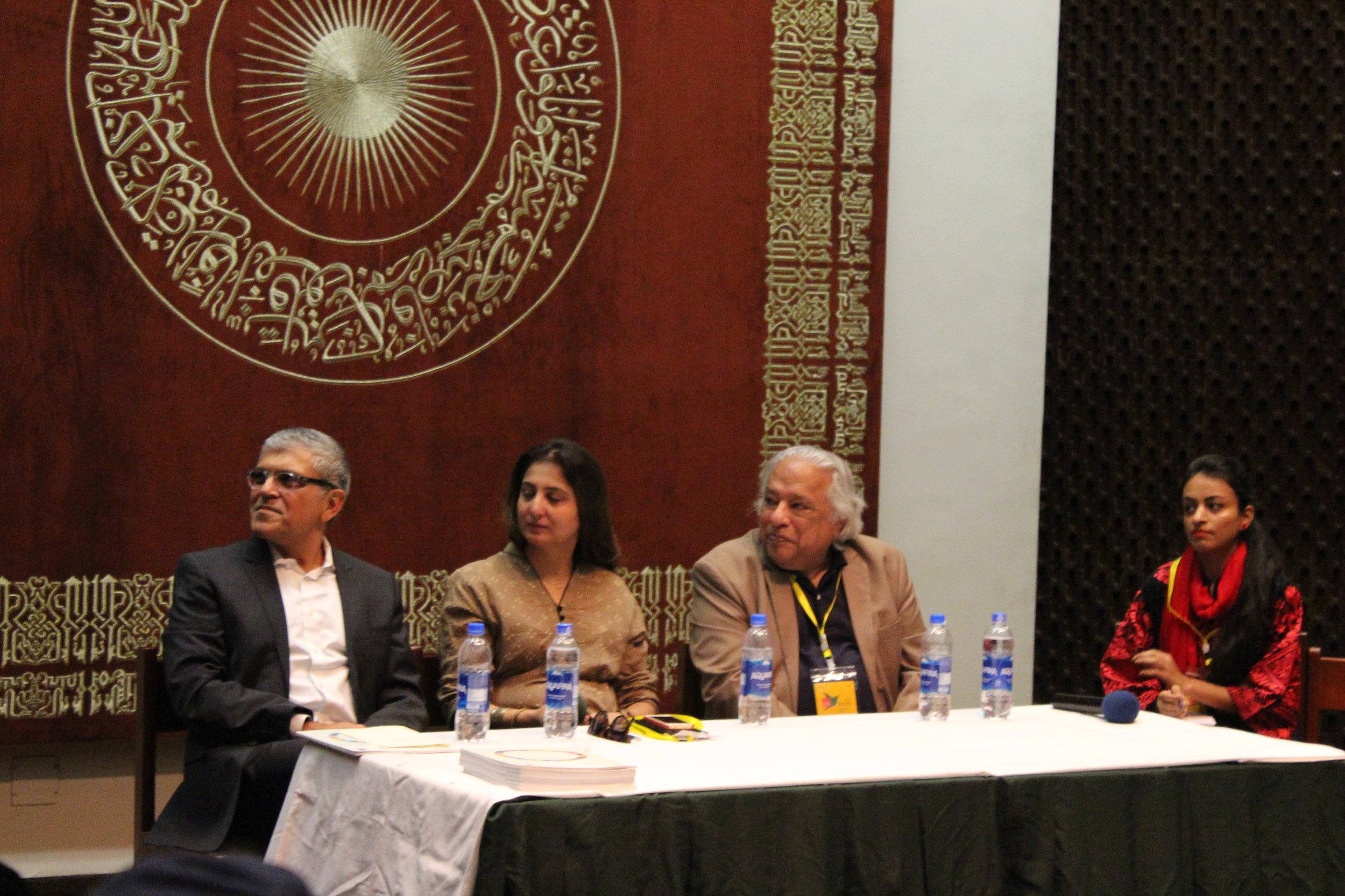 Panel discussion on Student Centered Design & Academic Spaces including Panelist Safdar Abidi, Marvi Mazhar and Arif Hasan.