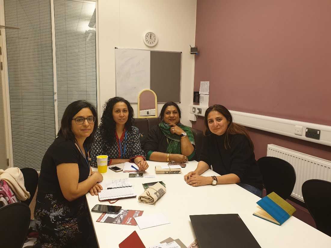 Figure 1: (L-R) Sabra Khan (Project Director), Sooree Pillay (Program Manager) and Piali Ray (Founder) of Sampard Arts at Midland Arts Centre with Marvi Mazhar. founder of Pakistan Chowk Community Centre to discuss potential cross-cultural dialogue.