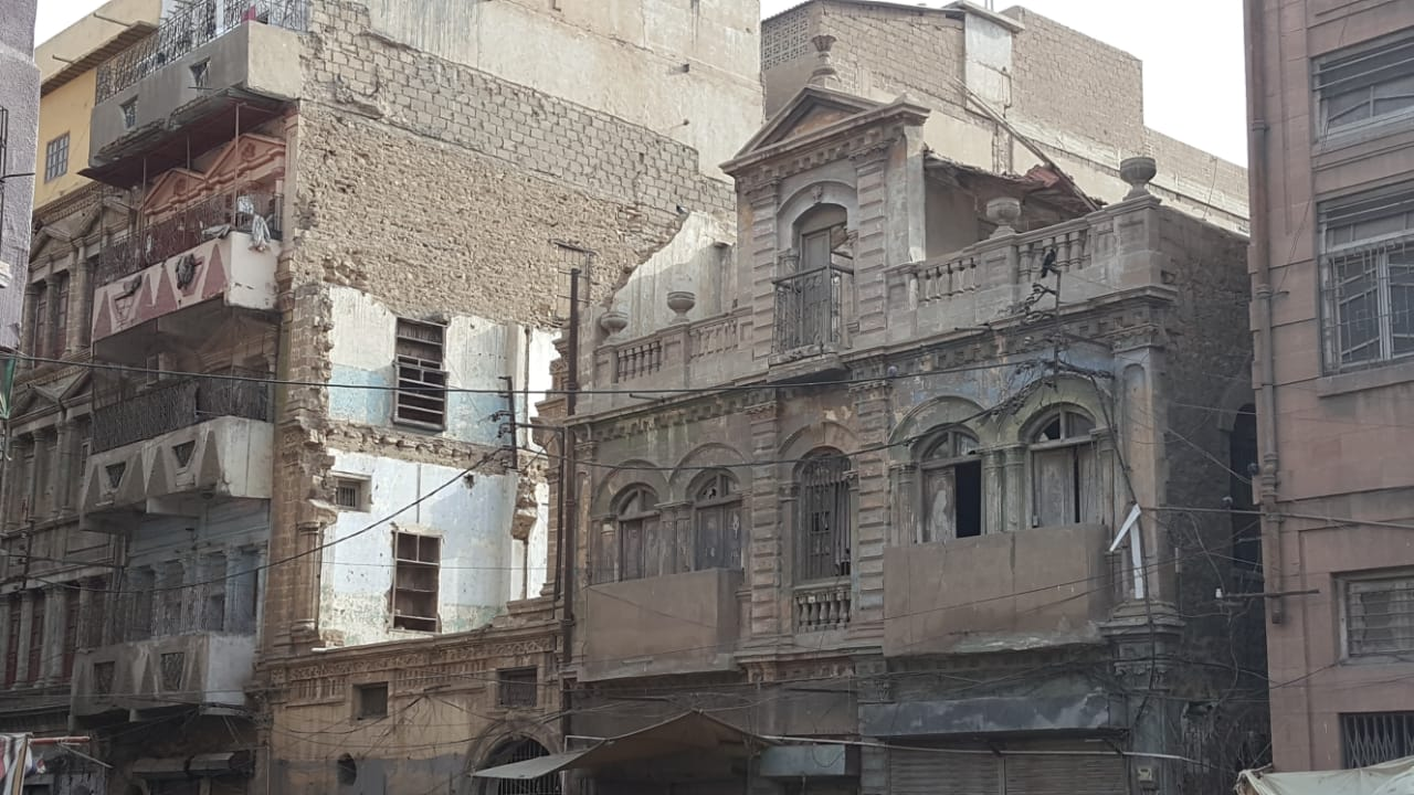 Dilapidated buildings on Mohalla Road. | Copyright Marvi Mazhar & Associates