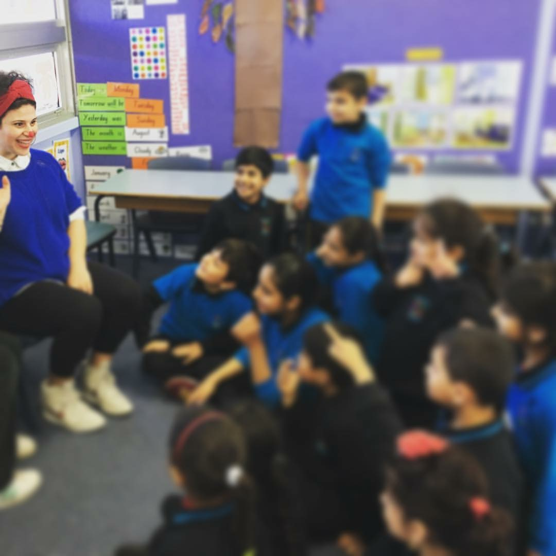 Teaching clowning workshop with Syrian refugee children for 'The art of giving, Lost in Books' project 2016