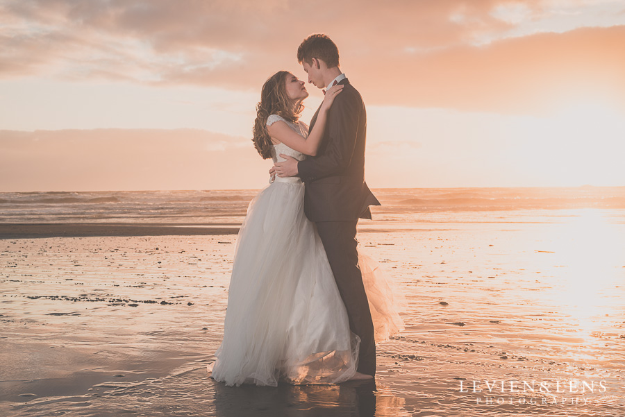Stunning couple in sunset light
