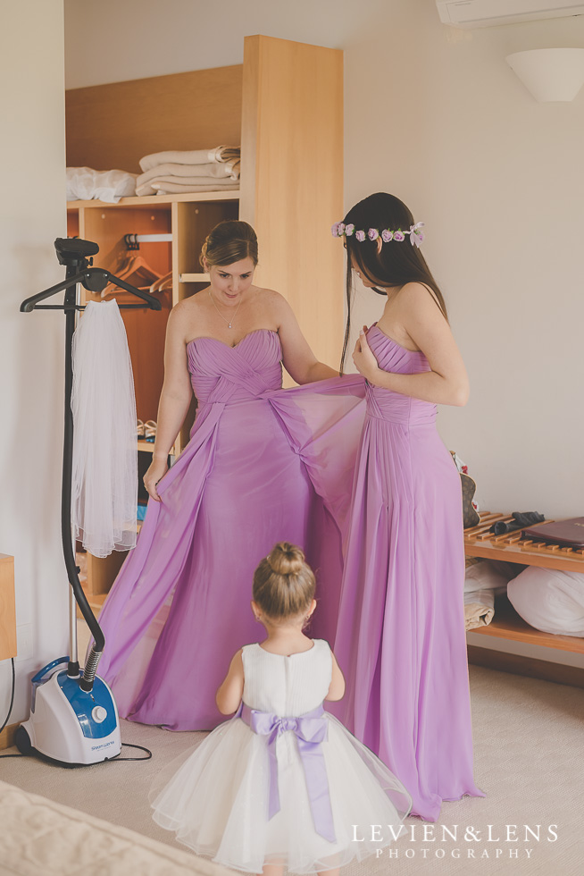 bridesmaids and flower girl twirling {Waikato-Bay of plenty wedding photographer}