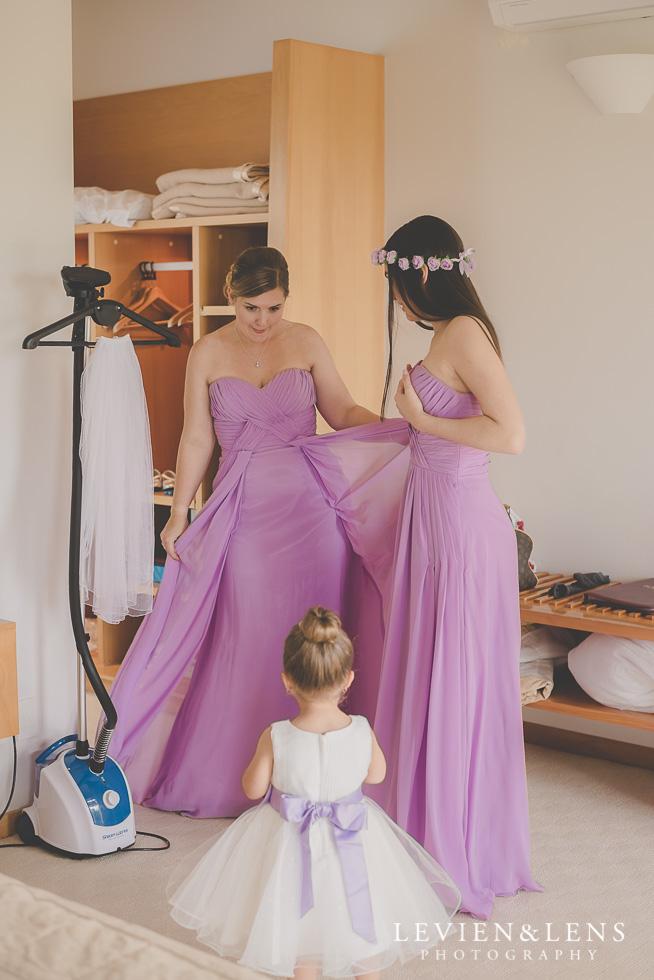 bridesmaids and flower girl twirling {Waikato-Bay of plenty wedding photographer}