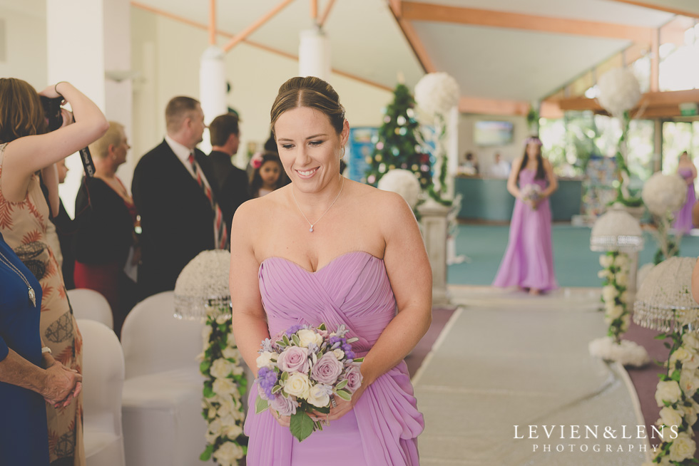 bridesmaids walking down aisle {Auckland wedding photographer}