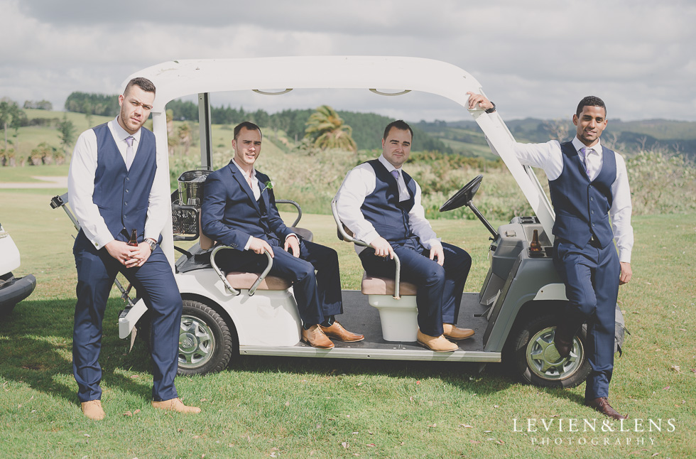 groom and groomsmen golf cart Formosa Golf Resort {Auckland-Hamilton wedding-engagement-couples photographer}