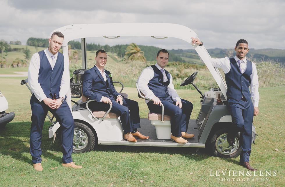 groom and groomsmen golf cart Formosa Golf Resort {Auckland-Hamilton wedding-engagement-couples photographer}