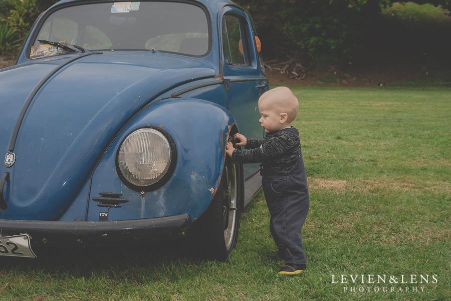 1 year old baby boy near old car {Auckland-Hamilton lifestyle family-baby-kids photographer}