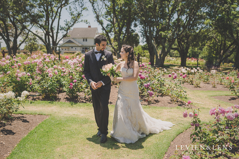 bride and groom walking Parnell on the Rose Garden {Auckland lifestyle wedding photographer}
