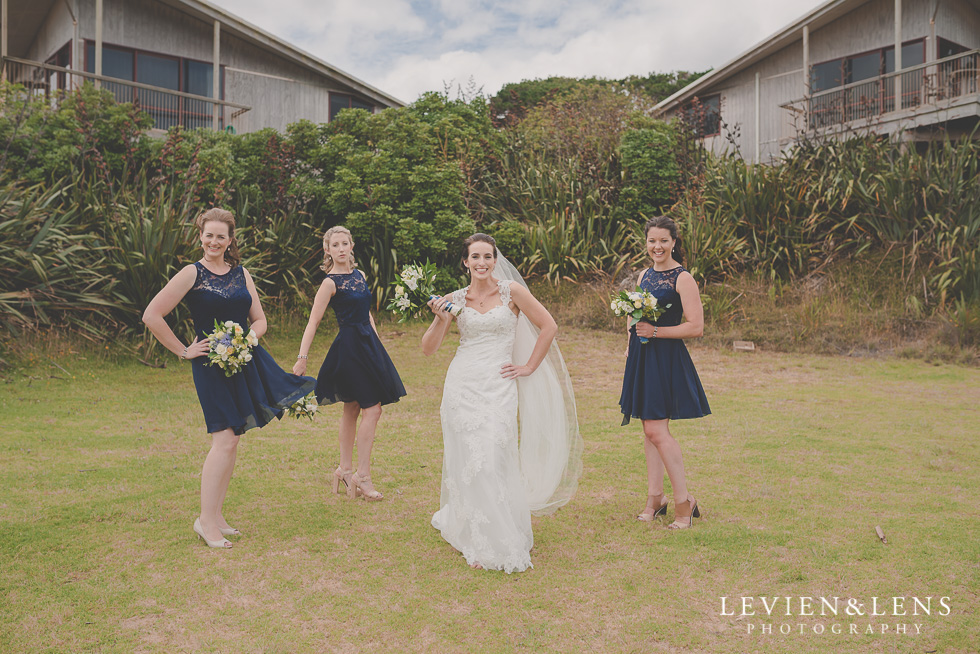 bride and bridesmaids Castaways {Auckland wedding-couples-engagement photographer}