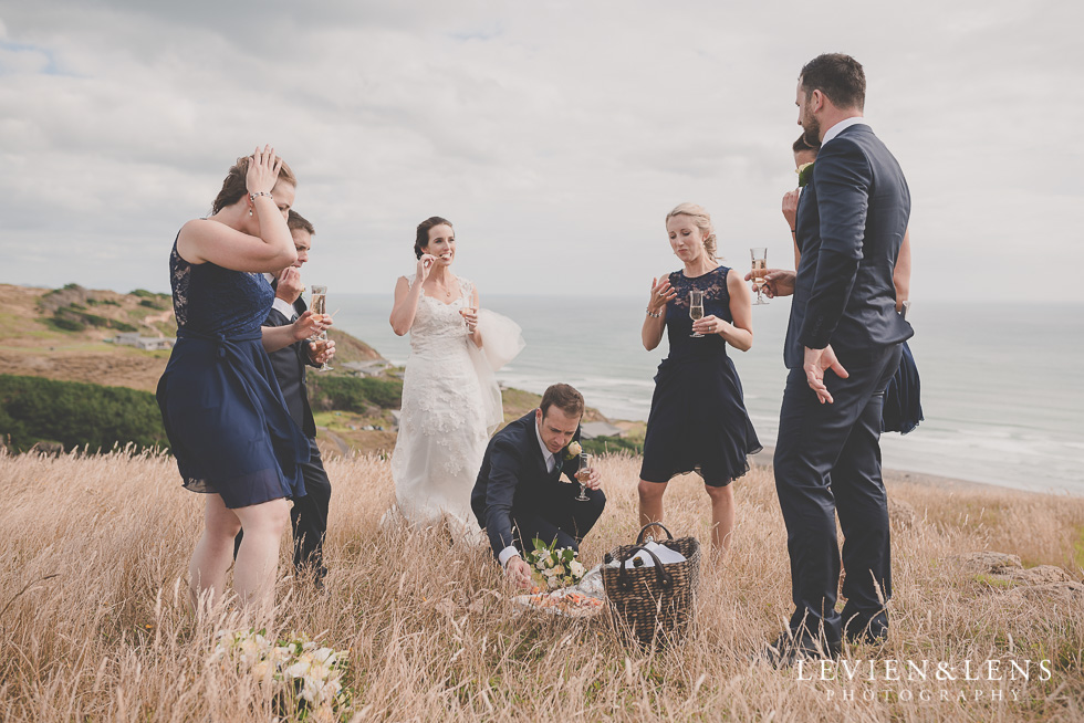 bridal party bride groom location shoot Kariotahi beach Castaways {Auckland wedding-engagement-couples photographer}