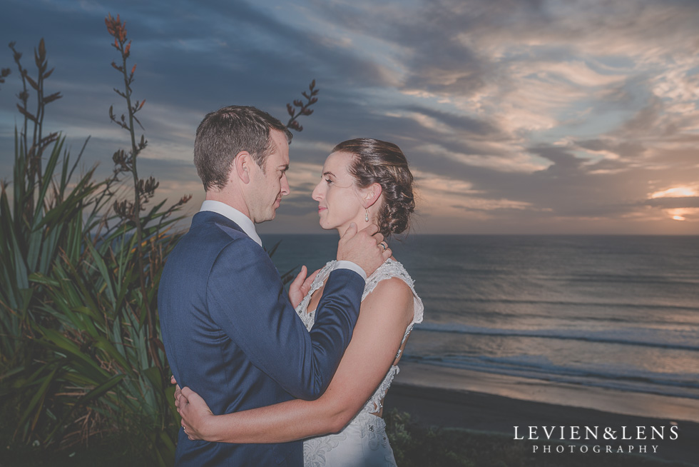 bride groom sunset shoot reception Castaways {Auckland wedding-engagement-couples photographer}