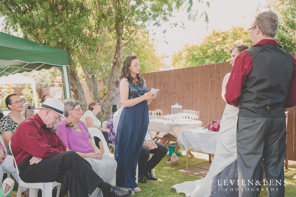 daughter speech small family garden wedding ceremony {Auckland lifestyle couples-engagement photographer}
