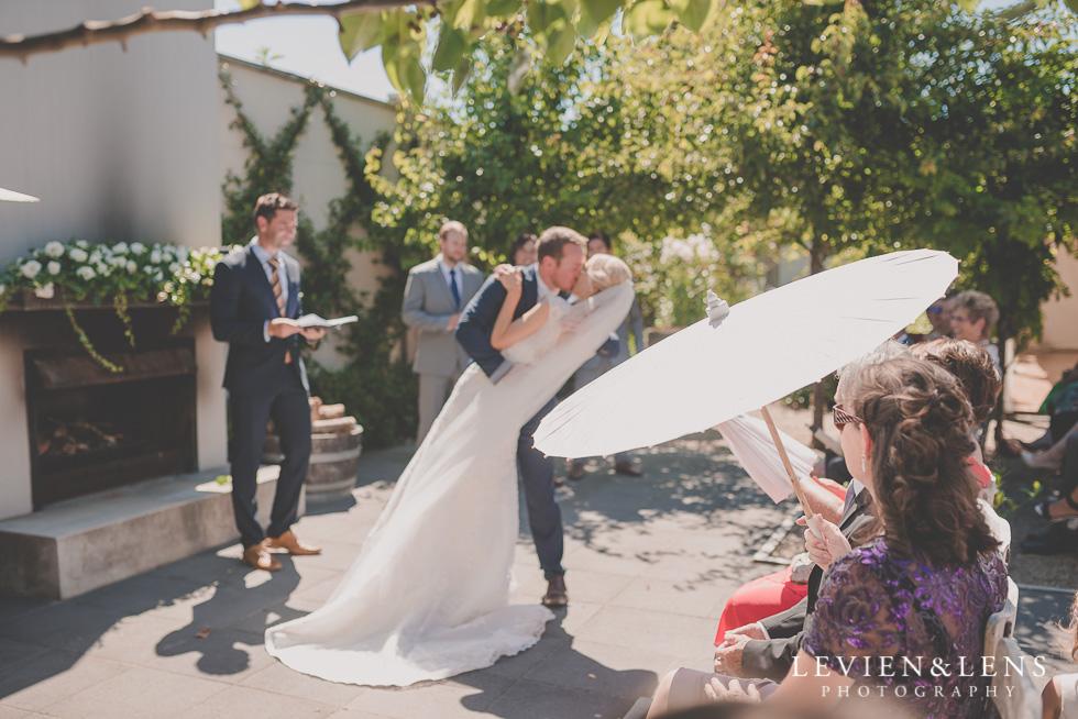 bride groom kiss {Tauranga-Bay of Plenty wedding-couples-engagement photographer}