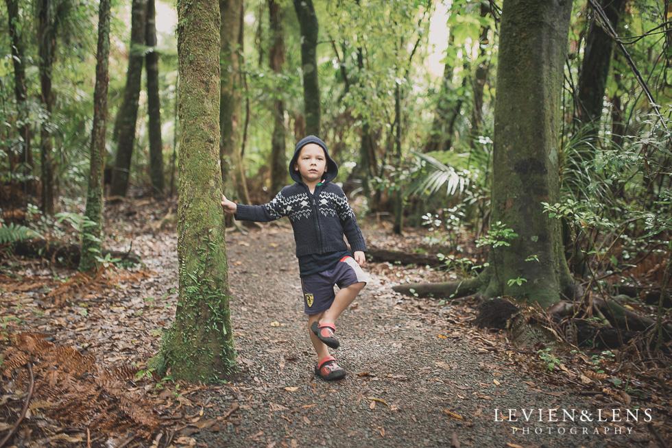 boy in forest - Pirongia bush walk - personal moments {Waikato lifestyle wedding photographer}