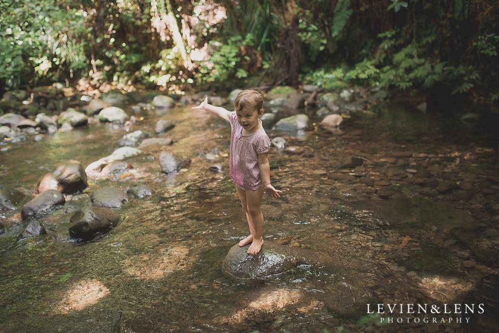 girl on the stone stream - Pirongia bush walk - personal moments {Waikato lifestyle wedding photographer}