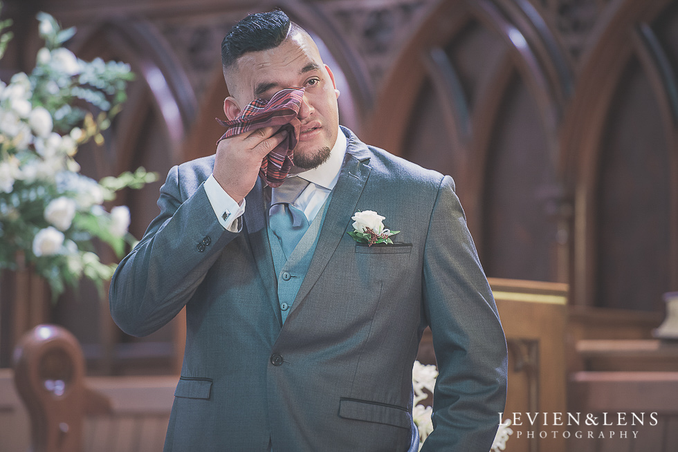 groom crying Church Of The Holy Sepulchre - Bastion Point {Auckland NZ lifestyle wedding-engagement photographer}