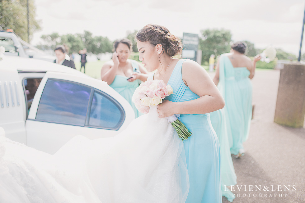 bridesmaid near car Church Of The Holy Sepulchre - Bastion Point {Auckland NZ lifestyle wedding-engagement photographer}