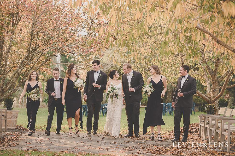 bridal party walking St Margarets Cafe - Karaka {Auckland lifestyle wedding photographer}