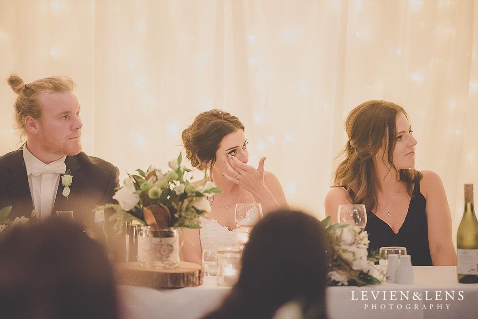 crying at reception St Margarets Cafe - Karaka {Auckland lifestyle wedding photographer}