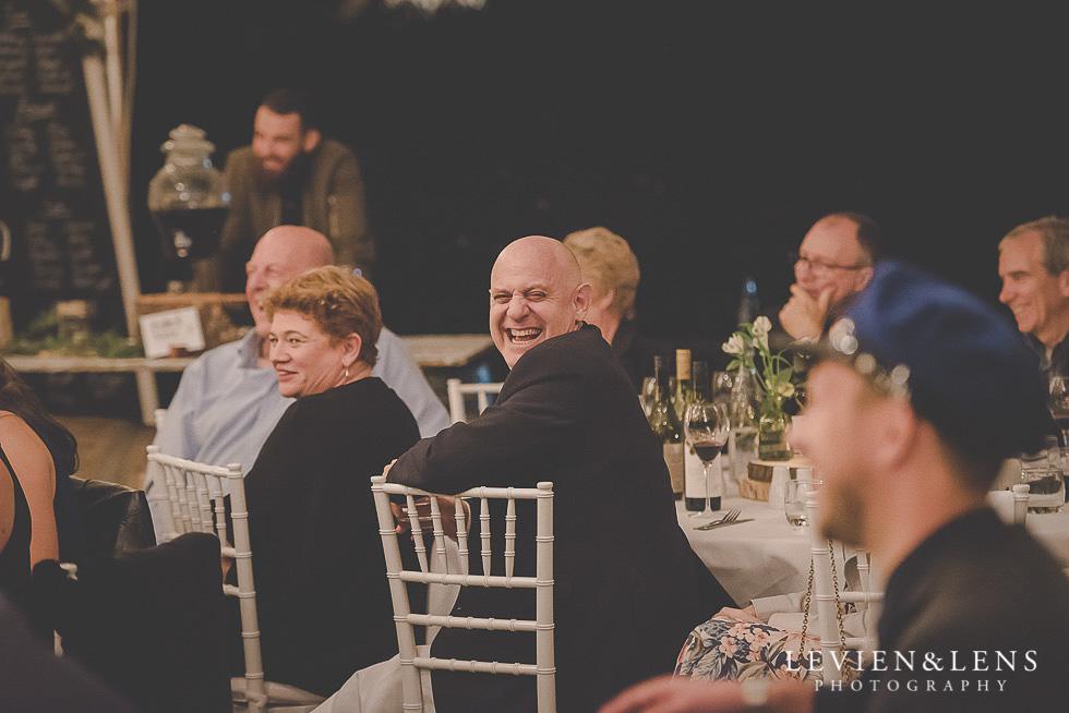 dad laughing - reception St Margarets Cafe - Karaka {Auckland lifestyle wedding photographer}