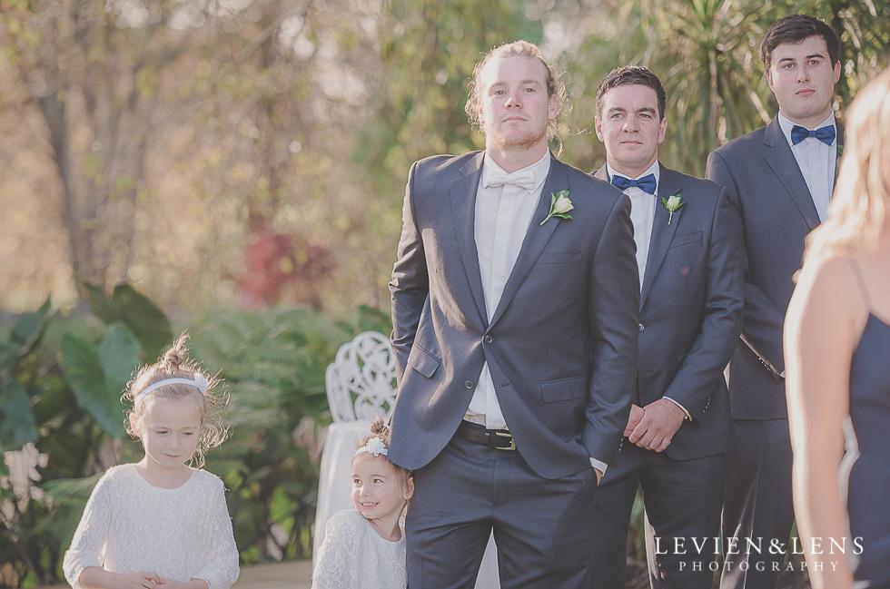 groom waiting bride ceremony St Margarets Cafe - Karaka {Auckland lifestyle wedding photographer}