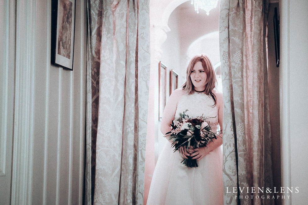 bride walking down aisle - Highwic historic house-museum winter wedding {Auckland NZ lifestyle weddings photographer}