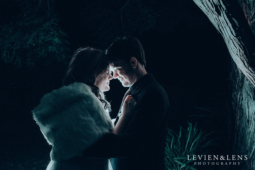 night intimate photo session with bride and groom - Highwic historic house-museum winter wedding {Auckland NZ lifestyle weddings photographer}