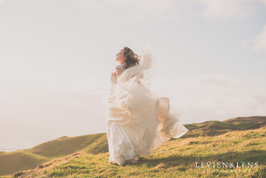 bridal portrait - blow wind dress {Auckland wedding photographer} Castaways