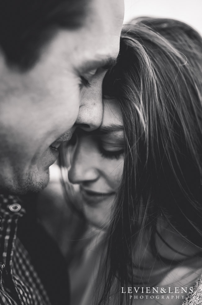 BW romantic couple intimate moment {New Zealand engagement-wedding photographer}