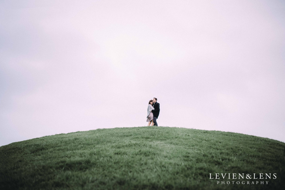 couple on the top go hill - Hamilton Gardens {New Zealand wedding-engagement photographer}