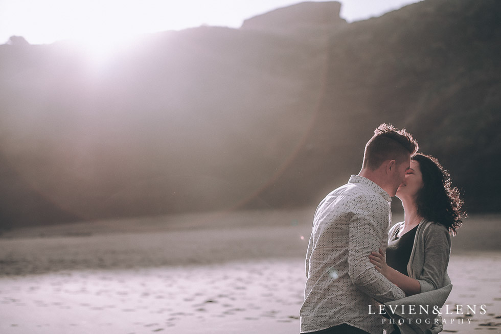 sun flare circle - Piha Beach couples photo shoot {Auckland wedding-engagement photographer NZ}