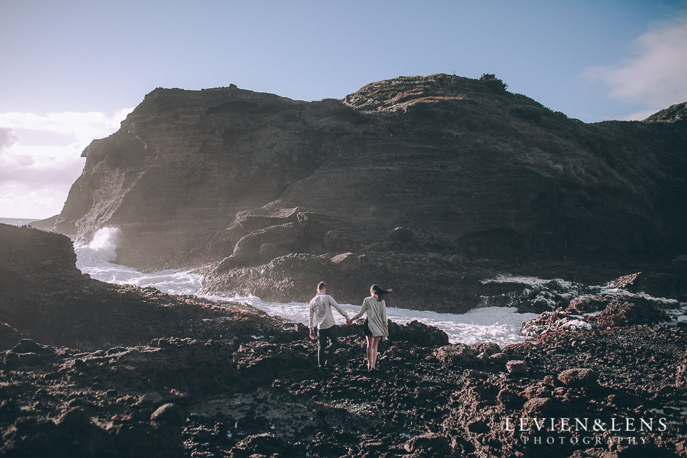 waves - Piha Beach couples photo shoot {Auckland wedding-engagement photographer NZ}