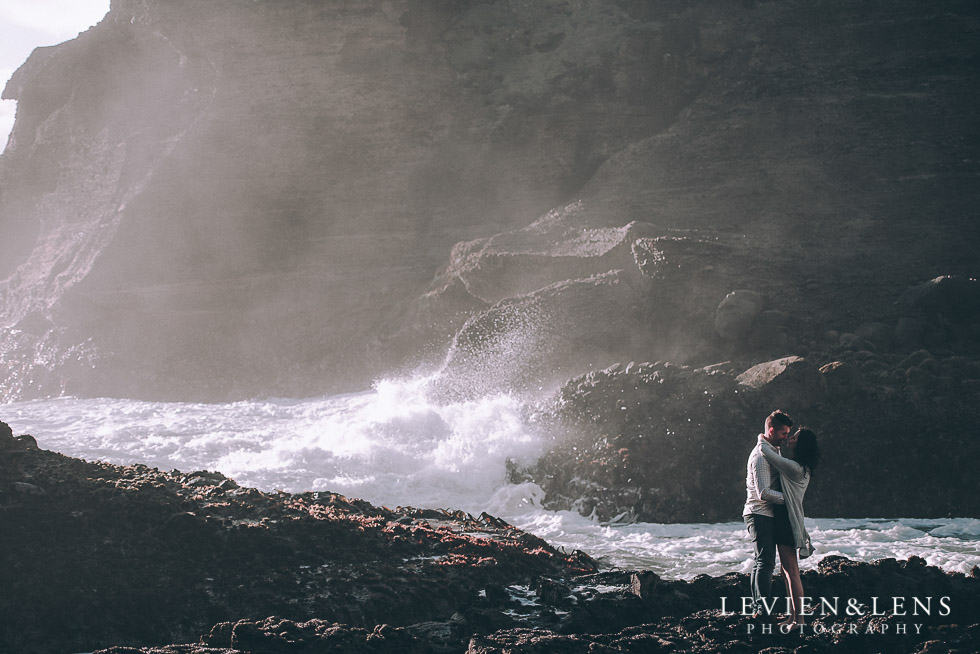 waves rocks - Piha Beach couples photo shoot {Auckland wedding-engagement photographer NZ}
