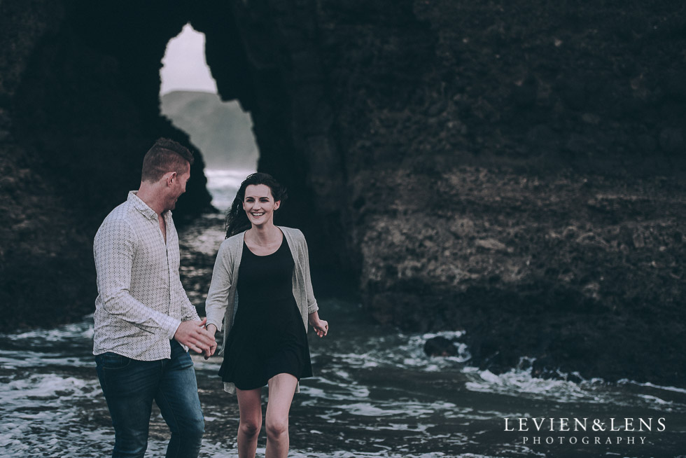 run in the waves - Piha Beach couples photo shoot {Auckland wedding-engagement photographer NZ}