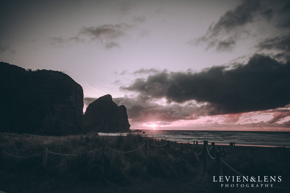 sunset - Piha Beach couples photo shoot {Auckland wedding-engagement photographer NZ}