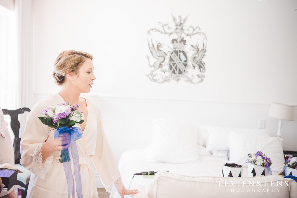 bride with flowers - The Duke of Marlborough Hotel - Russel wedding {Northland-New Zealand weddings photographer}