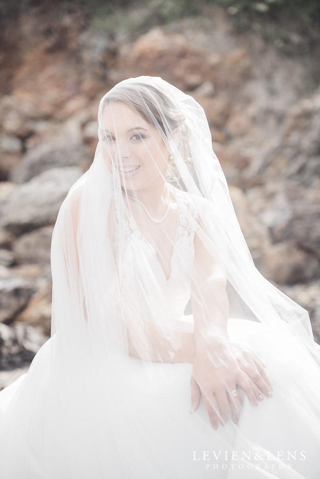 bridal portraiture - bride under veil - The Duke of Marlborough Hotel - Russel wedding {Northland-New Zealand weddings photographer} beach
