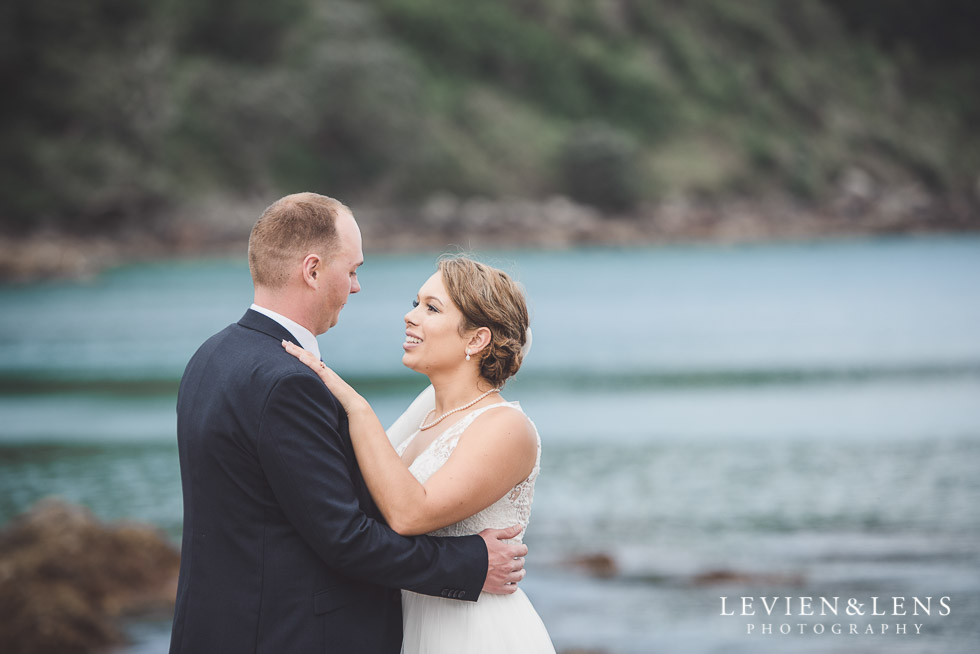 bide and groom at beach - The Duke of Marlborough Hotel - Russel wedding {Northland-New Zealand weddings photographer}